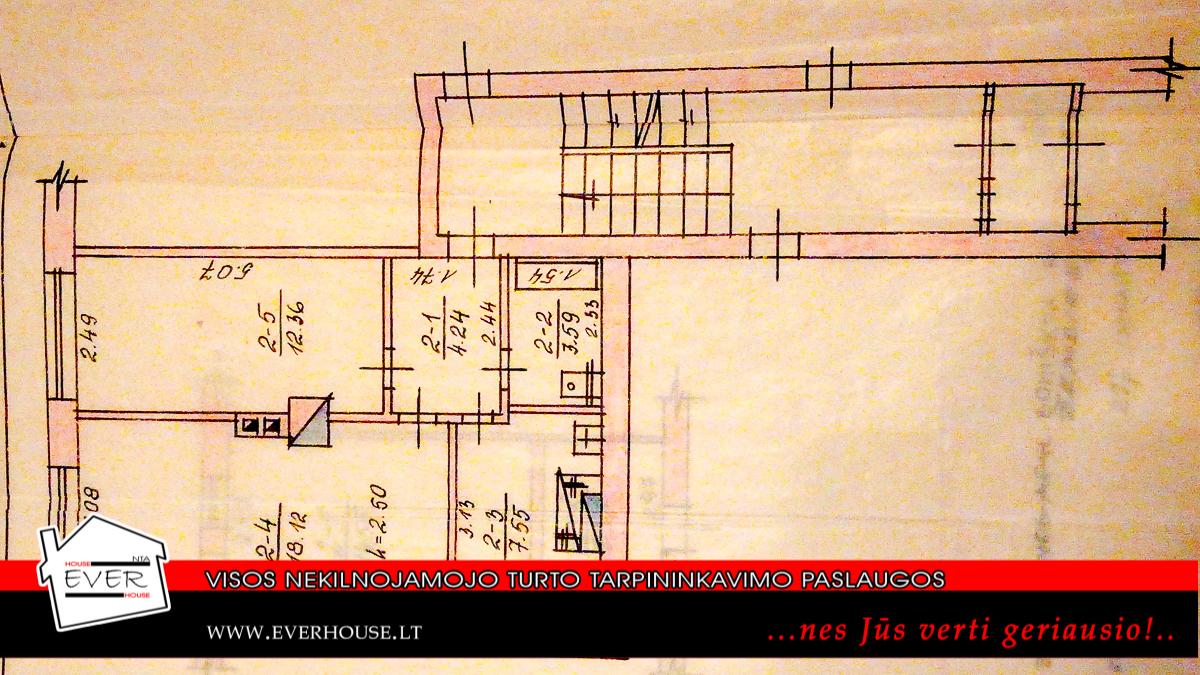 2 kambarių butas Boniškiuose mūriniame name
